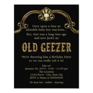 Mans Old Geezer Birthday Party Personalized Announcements