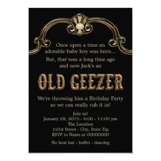 "Mans Old Geezer Birthday Party 5"" X 7"" Invitation Card"
