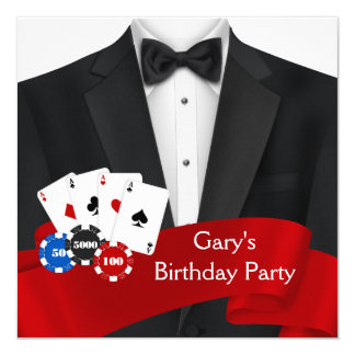 Mans Poker Birthday Party 13 Cm X 13 Cm Square Invitation Card