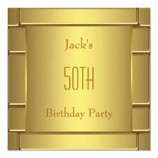 Mans Pure Gold Mans 50th Birthday Party Card