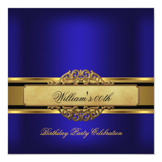 Mans Royal blue Gold Birthday Party Mens 13 Cm X 13 Cm Square Invitation Card