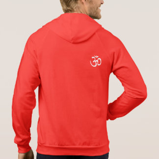 MANS ZIPPERED RED HOODIE - OM YOGA