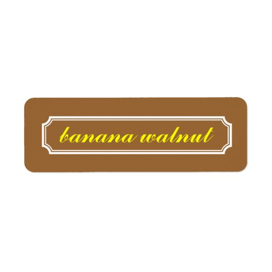 Mansard Border Flavour Label, Banana Walnut Return Address Label