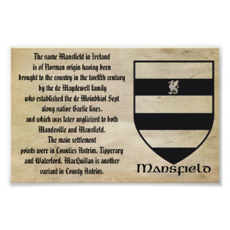 MANSFIELD FAMILY CREST AND ORIGIN OF THE NAME POSTER