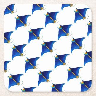 manta ray art square paper coaster
