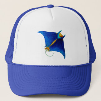 manta ray art trucker hat