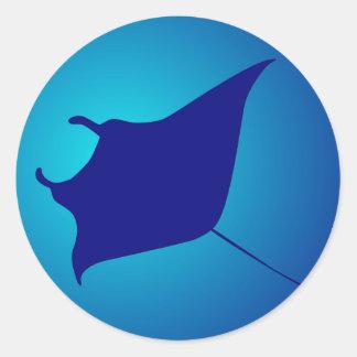 Manta skate ray round sticker