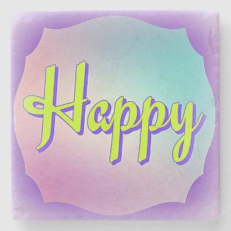 Mantra Aspiration Happy on Marble Coaster Stone Beverage Coaster