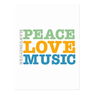 Manufacture Peace, Love, and Music Postcard