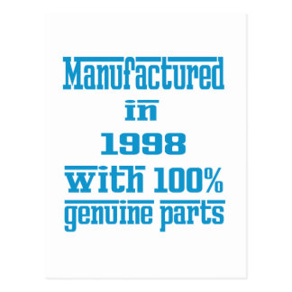 Manufactured in 1998 with 100% genuine parts postcard