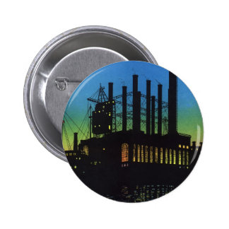 Manufacturing Factory at Sunset, Vintage Business 6 Cm Round Badge