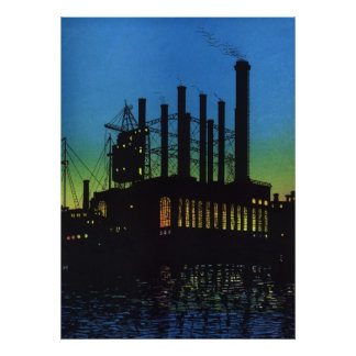 Manufacturing Factory at Sunset, Vintage Business Poster