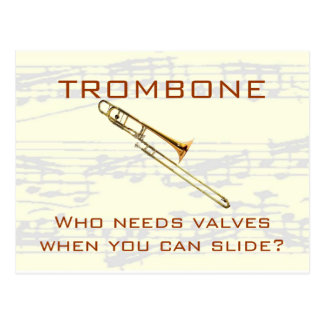 manuscriptbg, t-bone shirt2, TROMBONE, Who need... Postcard
