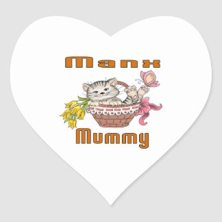 Manx Cat Mom Heart Sticker