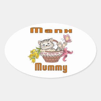 Manx Cat Mom Oval Sticker