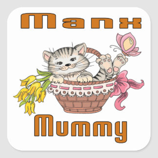 Manx Cat Mom Square Sticker