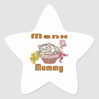 Manx Cat Mom Star Sticker