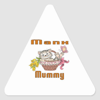 Manx Cat Mom Triangle Sticker