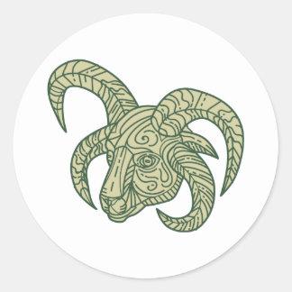 Manx Loaghtan Sheep Head Mono Line Classic Round Sticker
