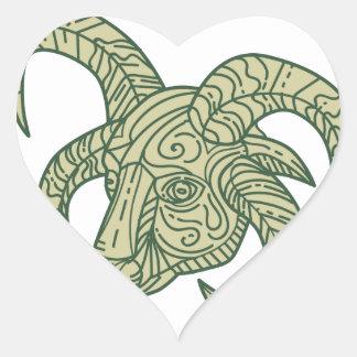 Manx Loaghtan Sheep Head Mono Line Heart Sticker