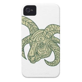 Manx Loaghtan Sheep Head Mono Line iPhone 4 Case-Mate Cases