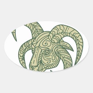 Manx Loaghtan Sheep Head Mono Line Oval Sticker