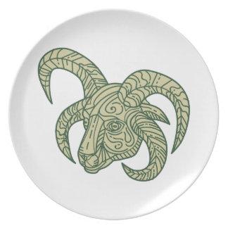 Manx Loaghtan Sheep Head Mono Line Plate