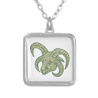 Manx Loaghtan Sheep Head Mono Line Silver Plated Necklace