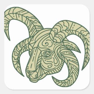 Manx Loaghtan Sheep Head Mono Line Square Sticker