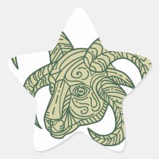 Manx Loaghtan Sheep Head Mono Line Star Sticker