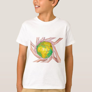 Many arms of children with hands holding globe T-Shirt