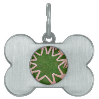 Many arms of children with hands making star pet name tag