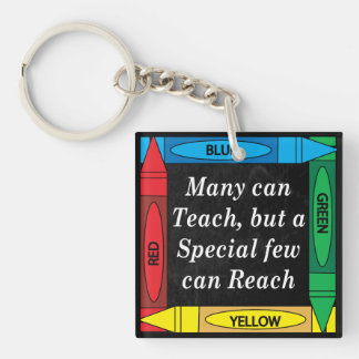 Many Can Teach, Special Teacher can Reach Single-Sided Square Acrylic Key Ring