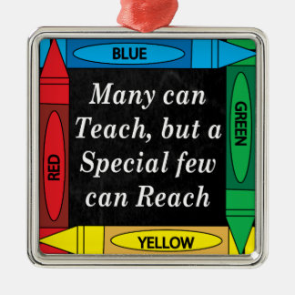Many Can Teach | Teachers Silver-Colored Square Decoration