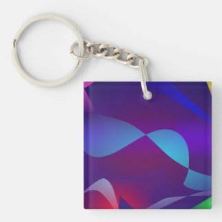 Many Drifting Objects Single-Sided Square Acrylic Key Ring