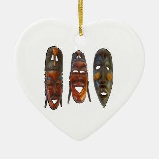 Many Faces Ceramic Ornament