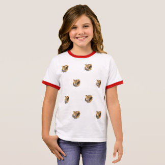 Many Funny Red Cat's Faces Cute design Ringer T-Shirt