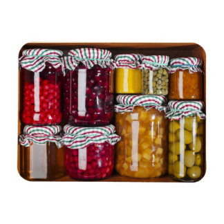 Many Glass Bottles With Preserved Food Rectangular Photo Magnet