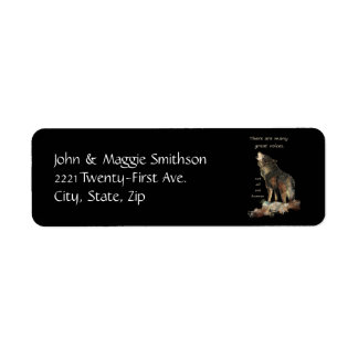 Many Great Voices Inspirational Wolf Quote Return Address Label