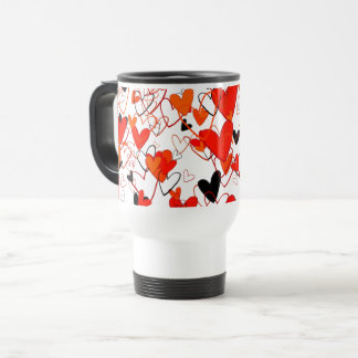 Many Hearts Black & Red Juxtapose Sophisticated Travel Mug