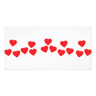 many hearts in line icon photo card template