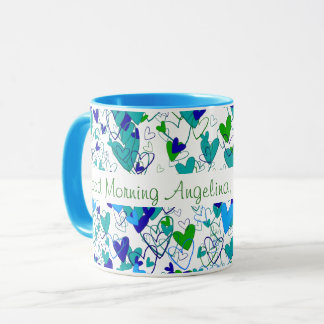Many Hearts Light Blue and Fresh Green Fascinating Mug
