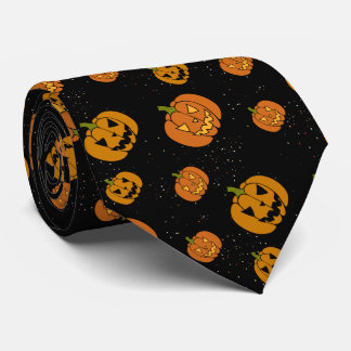 Many Jack O Lanterns Pumpkins on Black Halloween Tie