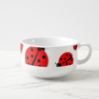 Many Ladybugs Shadows Soup Bowl With Handle