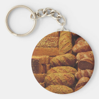 Many mixed breads and rolls background basic round button key ring