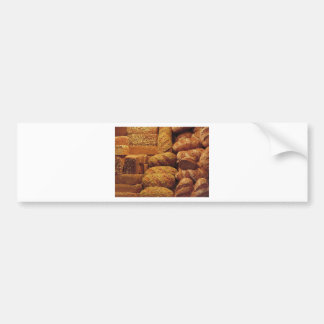 Many mixed breads and rolls background bumper sticker