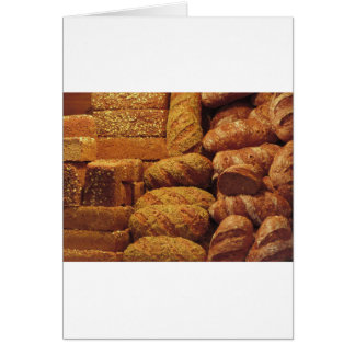 Many mixed breads and rolls background card