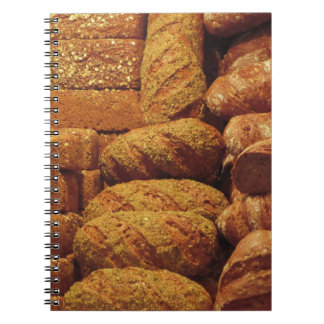 Many mixed breads and rolls background notebook