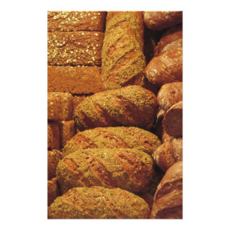 Many mixed breads and rolls background stationery