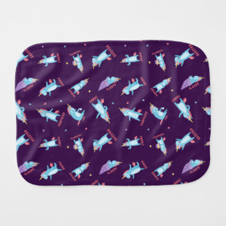 Many Moods of a Pink, Blue, and Purple Unicorn Burp Cloth